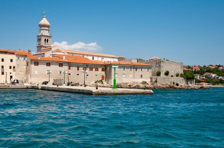 adriatico: Croatia -  Panoramic view of Krk old town port from the sea Stock Photo