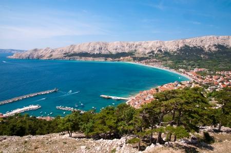 mediterraneo: Baska bay sea and city from panoramic viewpoint - Krk - Croatia