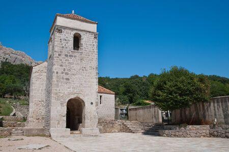 krk: St Lucia church  and patio at jurandvor - Baska - krk - Croatia Stock Photo