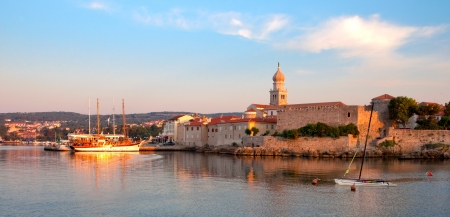 Croatia - Krk - Panoramic view of port and city walls from the sea Stock Photo