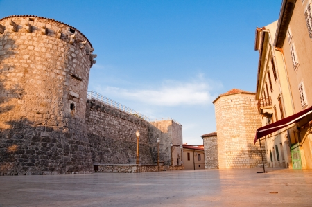 Croatia - Krk - Frankopan fortress tower and walls from square ground level Stock Photo - 17282300