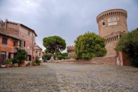 di: Old town Borgo di Ostia antica and Castello di Giulio II at Rome - Italy
