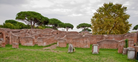 Ruins from caserma dei vigili del fuoco at Ostia Antica - Rome - Italy Stock Photo - 17976286