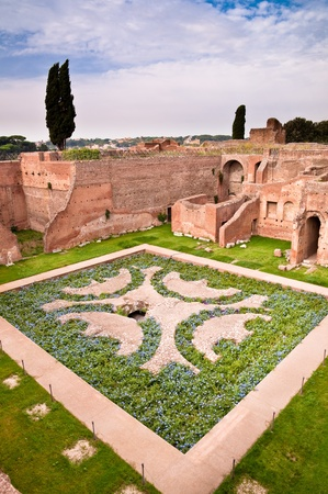 palatine: Domus Augustana gardens and ruins in palatine hill at Rome - Italy