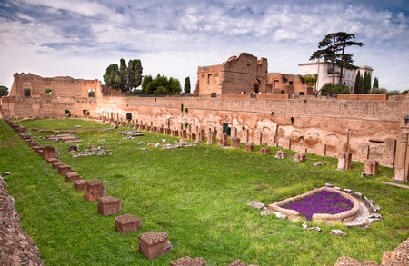 Palatine Stadium ruins background Domus Augustana ruins in Palatine Hill at Rome - Italy Stock Photo - 17976344