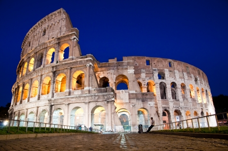 Front entrance of Colosseo at night at Rome - Italy