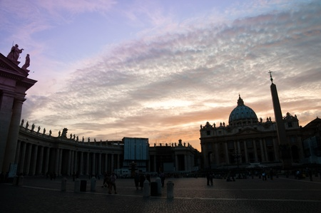 st peter: St Peter square and basilica on afternoon at Vaticano - Rome