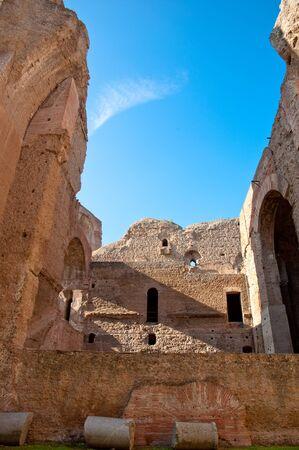 Ruins from interior brick walls and columns at Caracalla springs in Rome - Italy Stock Photo - 18782336