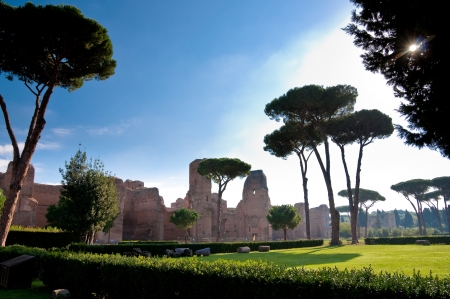 Italy - Roma - Caracalla - View of Caracalla springs with grassland and trees at Rome horizontal - Italy Stock Photo - 18782287