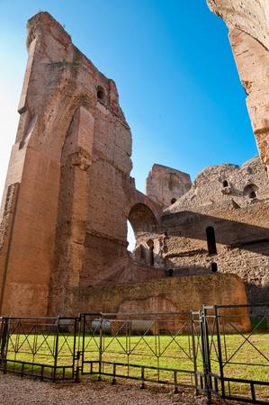 Brick walls ruins and fence on caracalla springs at Rome - Italy Stock Photo - 18782333