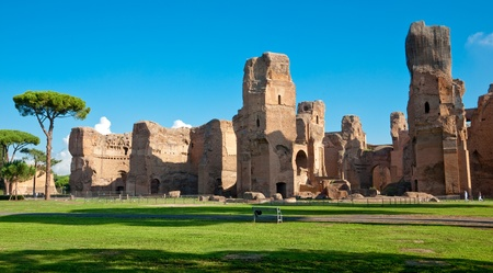 Caracalla springs ruins view from ground panoramic at Rome - Italy Stock Photo