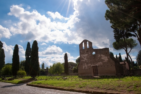 bove: San Nicola a Capo di Bove church at Via Appia antica with shiny blue sky - Rome - Italy