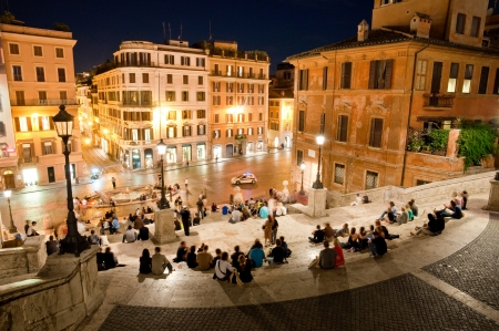 spagna: Night view at Piazza di Spagna from upstairs horizontal