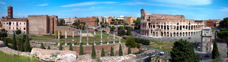 Panoramic view of Colosseo arc of Constantine and Venus temple from Roman forum at Rome