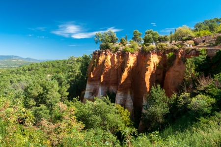 Panoramic view of cliff and woods on Le Sentier des Ocres in Roussillon - France