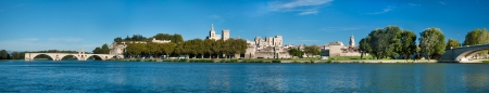 Great Panoramic view of Avignon old city and Rhone river - France Editorial