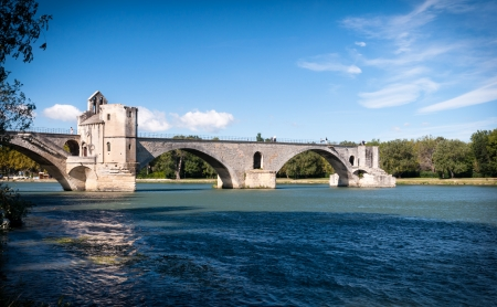 rhone: Pont du Avignon and Le Rhone river at Avignon - France
