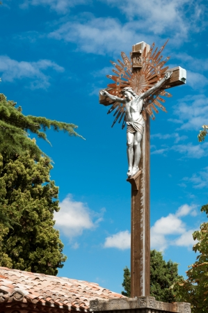 christus: Cross and Jesus christus at Eglise Marie Madeleine at Rennes le Chateau in france