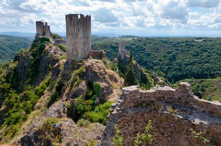La Tour Regine Surdespine and Quertinheux towers at Lastours in France Stock Photo