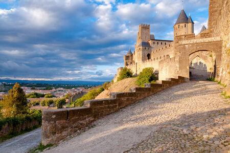 La Porte De Aude entrance at late afternoon at Carcassonne in France