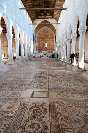 Mosaics and Inside of Basilica di Aquileia in Italy Editorial