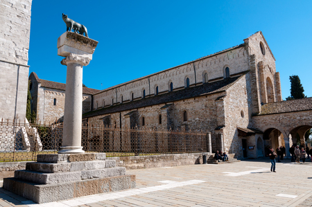 trieste: Roman wof statue and Basilica di Aquileia in Italy