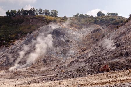 vulcano: Fumarole and crater walls of active vulcano Solfatara di Pozzuoli near Napoli - Italy