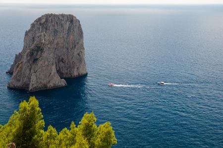 Faraglioni and Tyrrhenian sea at Capri - Italy