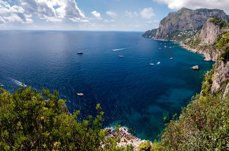 Panoramic view of Marina Piccola and Tyrrhenian sea in Capri island - Italy