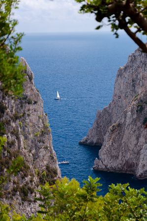 Sea, cliff and Faraglioni view with vegetation frame at Capri - Italy