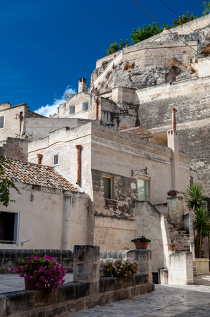 rupestrian: MATERA, ITALY – SEPTEMBER 15, 2014: Street view of Sassi di Matera ancient town. The city is a UNESCO World Heritage site and European Capital of Culture for 2019