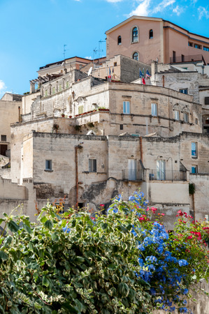 Buildings and flowers at Sassi di Matera - Italy