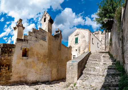 Street view of passage and stairs in ancient Sassi di Matera - Italy Editorial