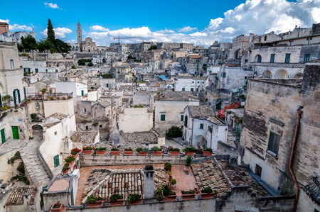 MATERA, ITALY – SEPTEMBER 15, 2014: View of Sassi di Matera from Piazza Vittorio Veneto. The city is a UNESCO World Heritage site and European Capital of Culture for 2019