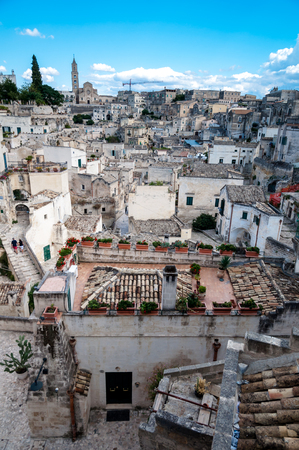 MATERA, ITALY – SEPTEMBER 15, 2014: View of Sassi di Matera from Piazza Vittorio Veneto . The city is a UNESCO World Heritage site and European Capital of Culture for 2019 Editorial