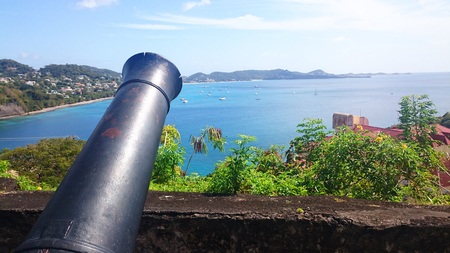Cannon with a landscape Standard-Bild