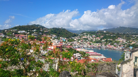 panorama view over caribbean city