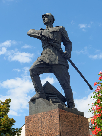 leopold: Monument of Polish soldier named Leopold Lis Kula, Rzeszow, Poland Stock Photo