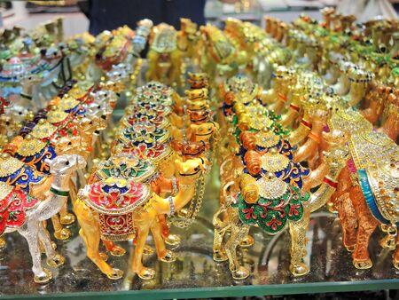 bazaar: Golden camels on Al Sabkha - Golden Bazaar, Dubai, UAE.
