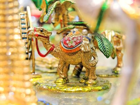 Small camel on Al Sabkha - Golden Bazaar, Dubai, UAE. Stock Photo