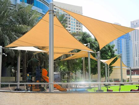 sheltered: Playground sheltered from the sun in Dubai. Stock Photo