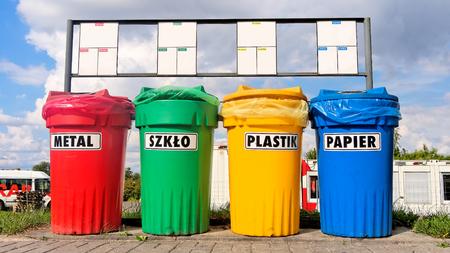 described: Color coded trash bins for waste segregation described in languages: Polish, English and German.