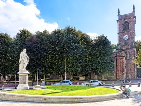 martyr: DUDLEY, OCTOBER 02: William Ward statue and St. Edmund King & Martyr Church in Dudley, UK 2016.