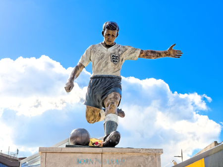 DUDLEY, OCTOBER 02: Duncan Edwards Statue, Dudley Town Centre, UK 2016. Born in Dudley.