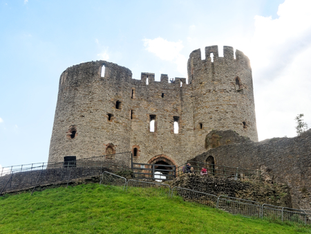 DUDLEY, OCTOBER 02: The oldest part of Dudley Castle with a tower and defensive walls. England 2016.