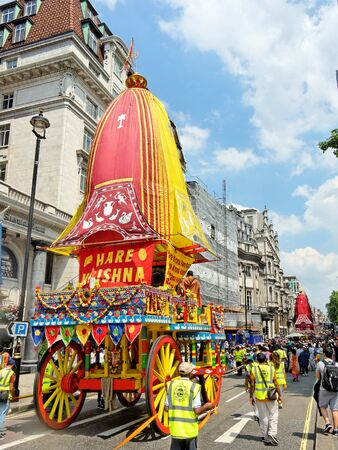 LONDON - JUNE 18: The cart festival called Rathayatra in London June 18, 2017. Carts on a overcrowded Piccadilly street