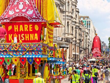 LONDON - JUNE 18: The cart festival called Rathayatra in London June 18, 2017. Colourful wooden carts on the Piccadilly street