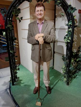 BLACKPOOL, JANUARY 14: Madame Tussauds Blackpool, UK 2018. Wax figure of Alan Fred Titchmarsh an English gardener, presenter, poet, and novelist.