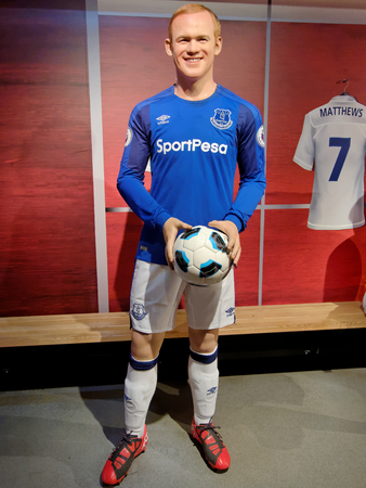 BLACKPOOL, JANUARY 14: Madame Tussauds Blackpool, UK 2018. Wayne Mark Rooney is an English professional footballer who plays for D.C. United of Major League Soccer.