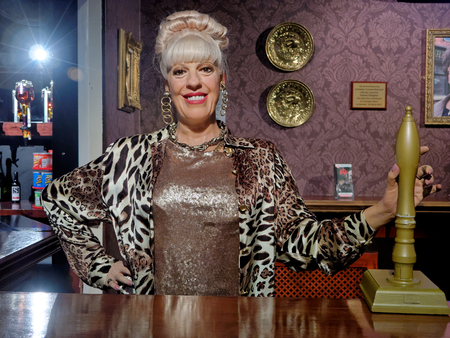 BLACKPOOL, JANUARY 14: Madame Tussauds,UK 2018. Julie Goodyear - English television actress and media personality, known for playing pub landlady Bet Lynch, Bet Gilroy on soap opera Coronation Street